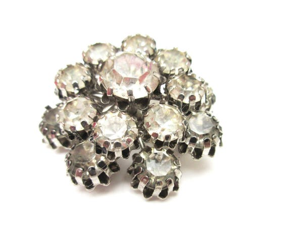 Atomic Rhinestone Brooch - Clear Ice crystal - domed layered - Mid century pin