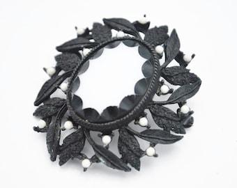 White Milk Glass Flower Brooch Pendant  Black Jappaned enameling floral flower  Mid Century pi
