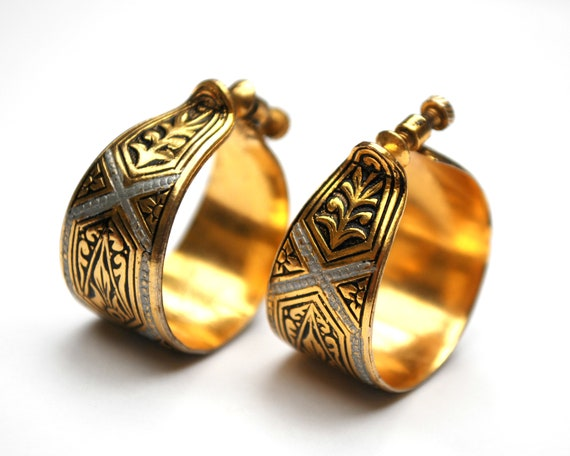 Damascene Hoop  earrings - Gold and black enameling - round hoops  - Signed made in Spain