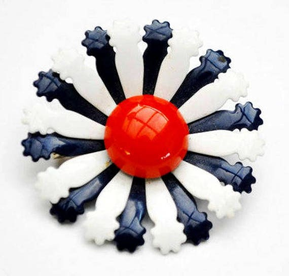 Flower Brooch  Red White Blue   Enamel on Metal  Floral  pin
