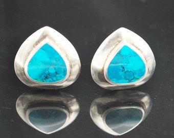 Sterling Turquoise  earrings blue gemstone pear shape southwestern    clip on  earrings
