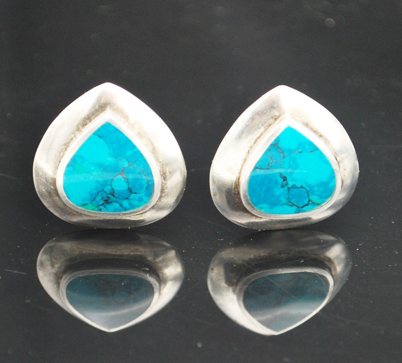 Sterling Turquoise  earrings blue gemstone pear shape image 0