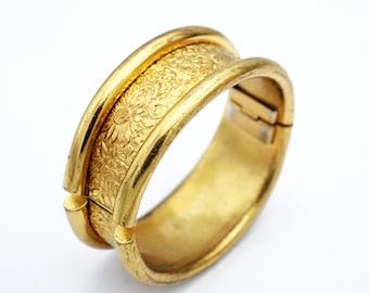 Gold bangle wide repousse floral Bracelet golden  flower and  leaves  design Hinged bangle