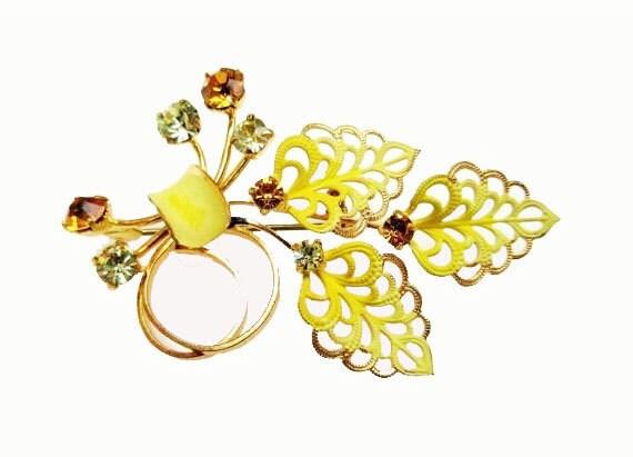Leaf Flower Brooch  Orange  Rhinestone Yellow enamel Mid Century pin