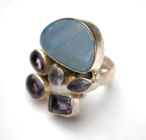 Opal Amethyst  ring - size 7 - Sterling Silver - Opal Doublet stone - Purple Amethyst  - Large Statement Ring