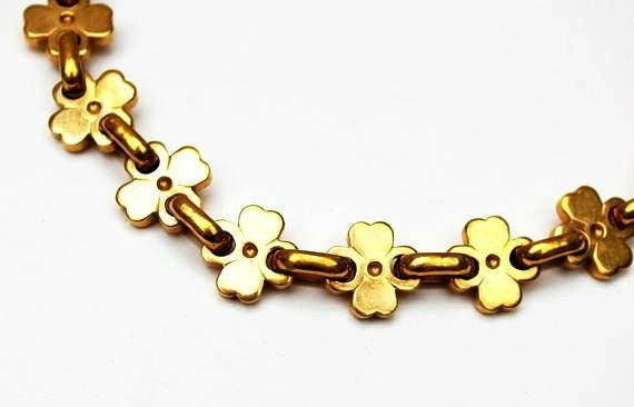 Gold Volupte link necklace - gold plated - clover leaf design - Chunky gold links collar necklace