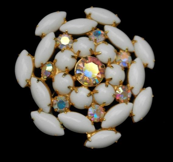 White Milk Glass Flower Brooch   Atomic Pin  Snow Fake  Aurora Borealis  rhinestone  Mid Century