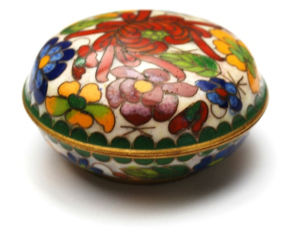 Cloisonne round  Pill box  red yellow blue  enameling floral flower design  blue interior trinket  ring box made in China