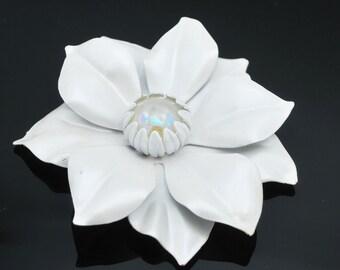Large White  Flower Brooch  Enamel Flower Glass   Mid century floral Pin
