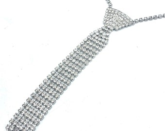 Rhinestone tie  Necklace  clear crystal tie bib necklace wedding bride