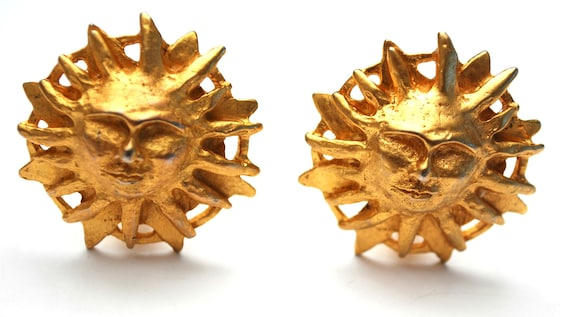 Gold Sun Earrings - Signed Dauplaise - Sunburst - face in sun - clip on earrings