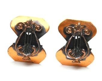 Copper Earrings   clip on earrings  Mid Century earrings boho