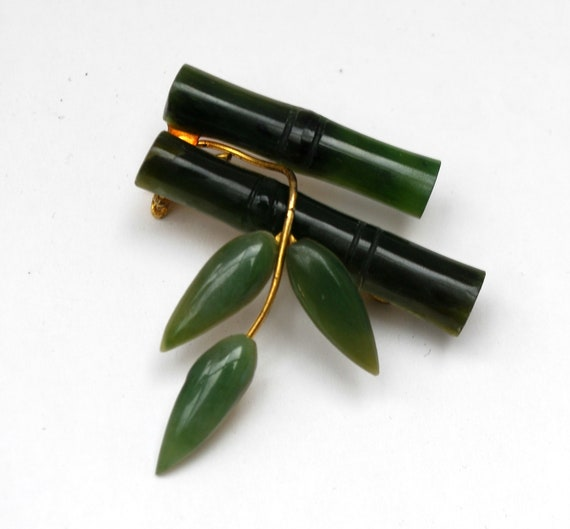 Nephrite Jade Bamboo Brooch Green gemstone gold plated Asian floral branch leaf pin