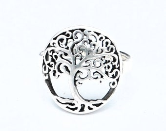Sterling silver Tree   ring size 6   tree of life figurine  ring