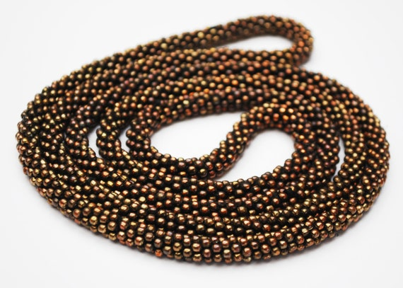 Woven copper  Bead necklace - shiny brown glass bead -  rope style  - 48 inches