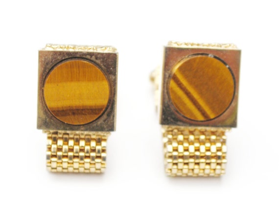 Vintage Tiger eye cuff links - brown  Gemstone  - gold Mesh wrapped CuffLinks
