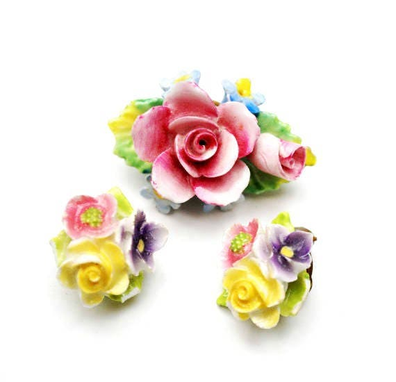 Artone Flower Brooch earring set   Bone China  Pink Blue  ceramic Made in England  Floral pin  Clip on earrings