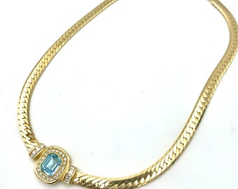 Christian Dior Rhinestone Necklace  light blue clear crystal flat chain  princess necklace