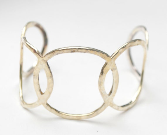 Sterling Cuff Bracelet -  Wide Silver Circle links   Tribal boho bangle