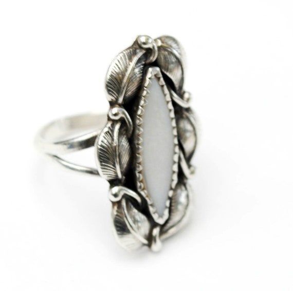 Sterling Mother of pearl ring  Yazzie Navajo  silver leaf  size 8 mop white  Native American
