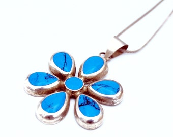 Turquoise  Sterling silver Flower  pendant necklace blue gemstone silver chain floral 23 inch  necklace