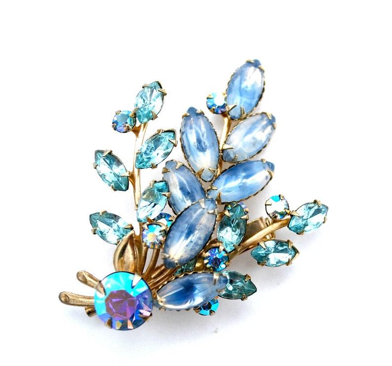 Blue Rhinestone Brooch   Aurora borealis Crystal   Flower Leaf image 0