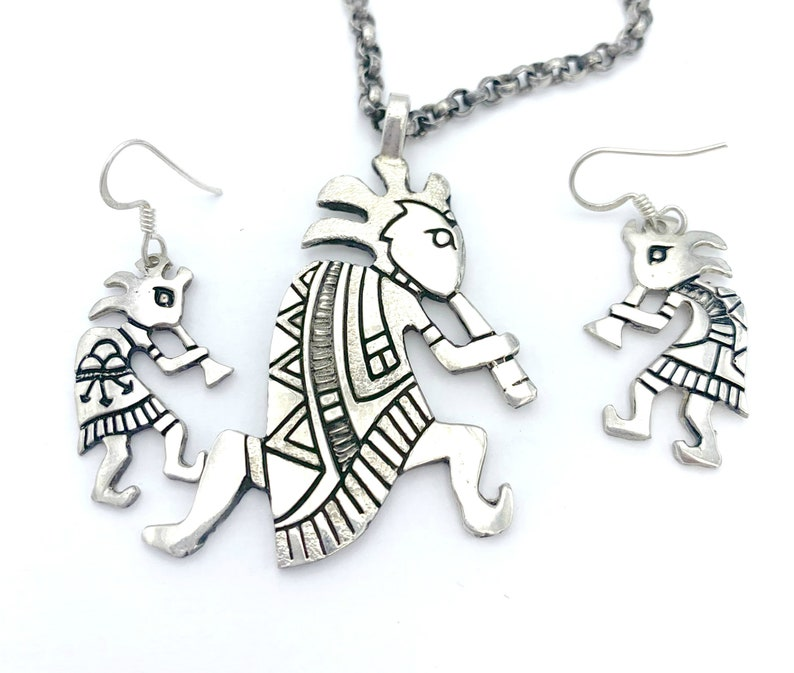 Lee Epperson kokopelli Sterling  silver Pendant necklace and earring set  Cherokee Native American  Flute Player  jewelry set