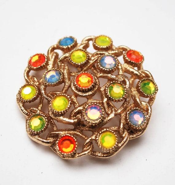 Sarah Cov Rhinestone  brooch - moon Lite - orange yellow green crystal - gold  - Floral pin -