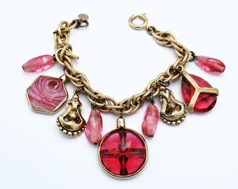 Red Glass Charm bracelet  Signed Accessocrft  Dangle pink and red Art Glass gold chain  Statement Cha cha bracelet
