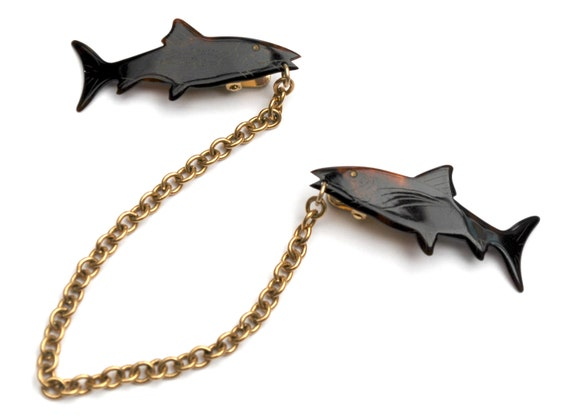Shark  Sweater clip - brown faux tortoise shell lucite - fish  -  Sweater Guard - gold chain