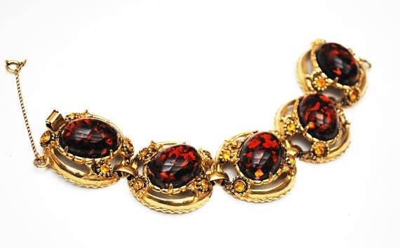 Chunky Amber  Lucite Link Bracelet  Large oval Confetti brown orange  Orange rhinestone gold tone metal