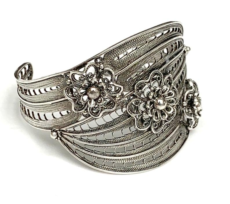 Sterling Silver  Filigree Cuff Bracelet Signed  Turkey open image 0