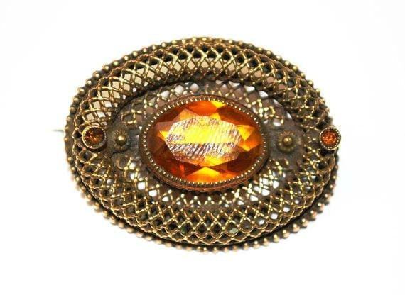 Czech Brooch - Gold  Filigree Gilt Brass - Amber citrine Glass Pin