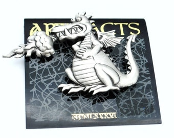 Pewter Dragon   brooch by JJ Jonette Jewelry Artifacts fantasy figurine pin origional card NOS