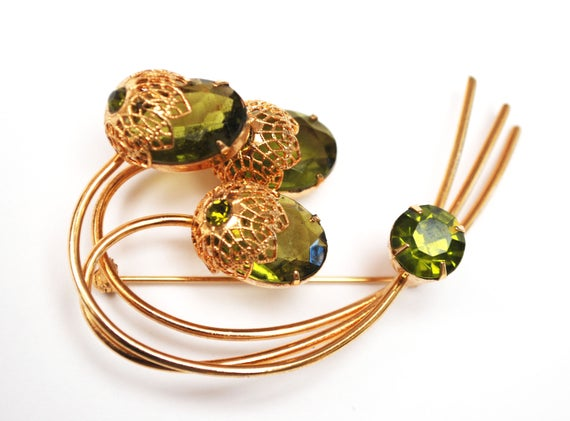 Sarah Cov Flower brooch - Touch of Elegence - olive green crystal gold filigree - Floral pin - Book piece