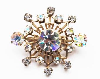 Rhinestone Atomic Brooch - Clear Aurora borealis Crystal - gold tone metal - Snowflake pin