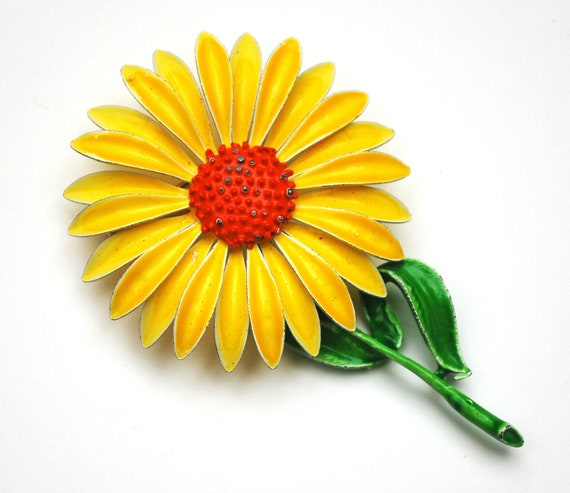 yellow  Flower Brooch - Enamel Flower - Daisy   -  green orange  - Mid century floral Pin