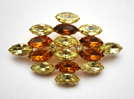 Rhinestone  Brooch - orange and yellow crystal - Citrine Glass - Mid Century  pin