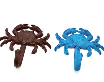 Crab hook Wall mount Nautical iron rust brown blue  cast iron key  coat towel hook beach decor