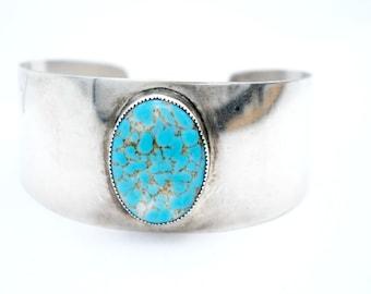 Sterling Silver Danecraft Cuff turquoise blue art glass  Bangle Bracelet