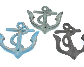 Cast Iron Anchor hook coat towel hook  Beach Decor iron rust brown  Distressed blue  and distressed green