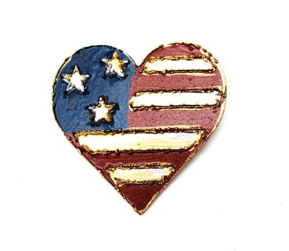 Flag Heart Brooch  Red white Blue  American flag painted on copper metal heart pin