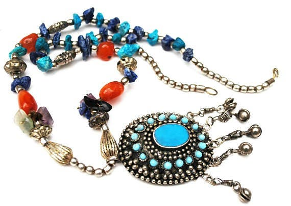 Turquoise Blue and silver Pendant necklace  silver blue lapis howlite carnelian amethyst turquoise gemstone  beads vintage boho necklace