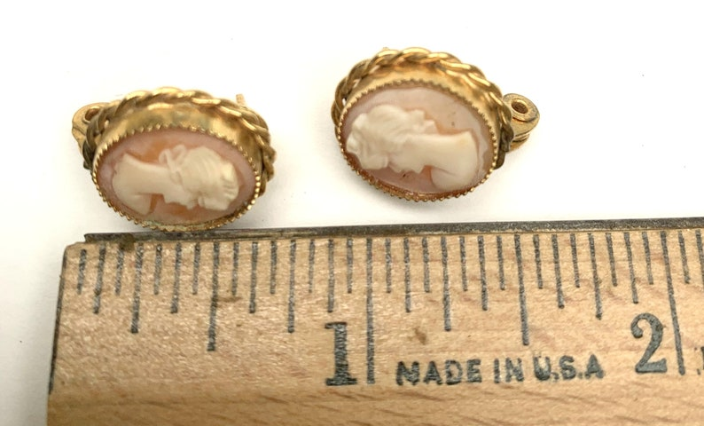 Cameo Earrings carved shell gold plated signed Lewis Segal Pierced  earrings with clips