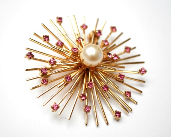 pink  Atomic Flower Brooch  pink rhinestone  white pearl   gold  Starburst Pin floral flower gift for her