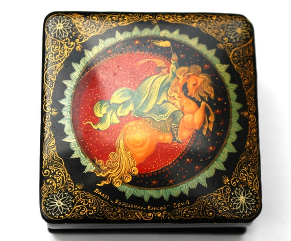 Russian Lacquer Trinket Box - Signed -  Fairy Tale Storybook-  Hand Painted - Hinged wood jewelry pill box Horse
