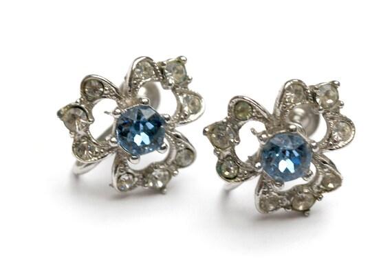 Bogoff Rhinestone earrings - Blue  clear Crystal - Wedding bride - Screw back earrings