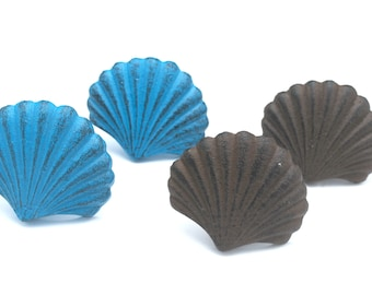 Cast Iron  scallop sea shell Drawer Pull Cabinet Knob Handle Beach Decor iron rust brown and Distressed blue