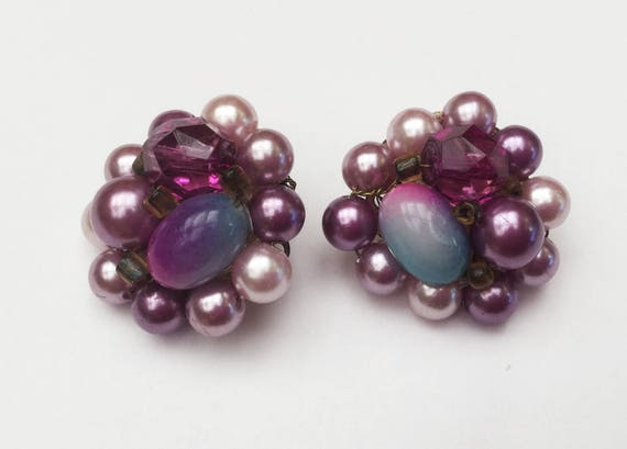 Purple cluster Bead earring - Signed Japan - Givre cabochon - metalic pearls - Clip on earrings