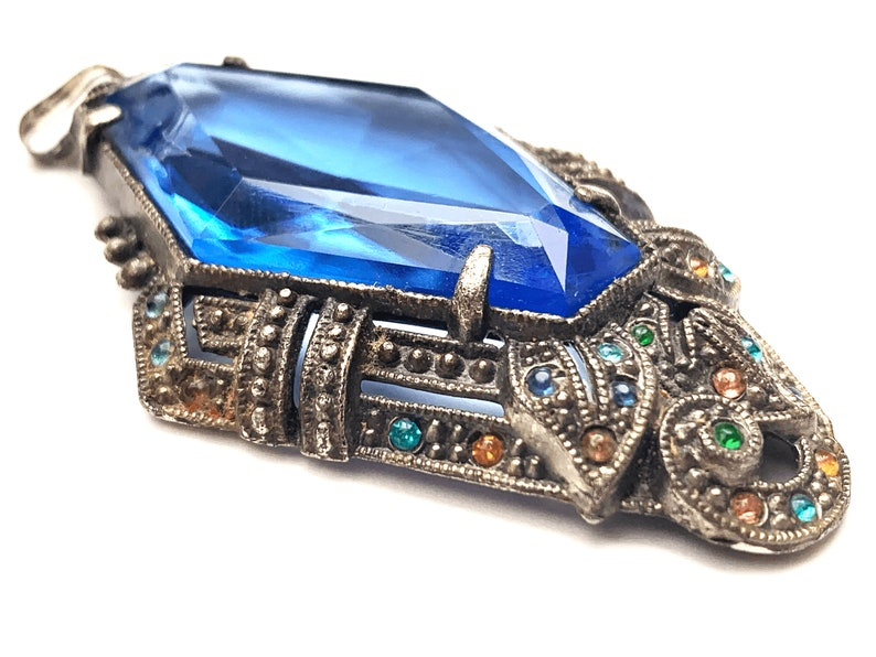 Art Deco blue Crystal Pendant  Pot metal with colorful rhinestones jewelry supply